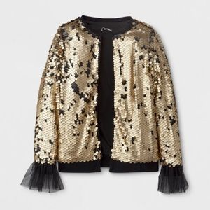 Girls Target Art Class Gold Flip Sequin Cardigan